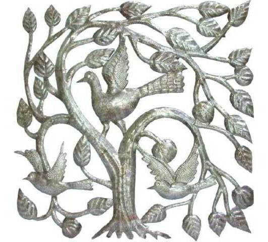 Strom Zivota S Vtakmi Umelcov Ktore Pracuju S Kovovou Stenu Kresby
